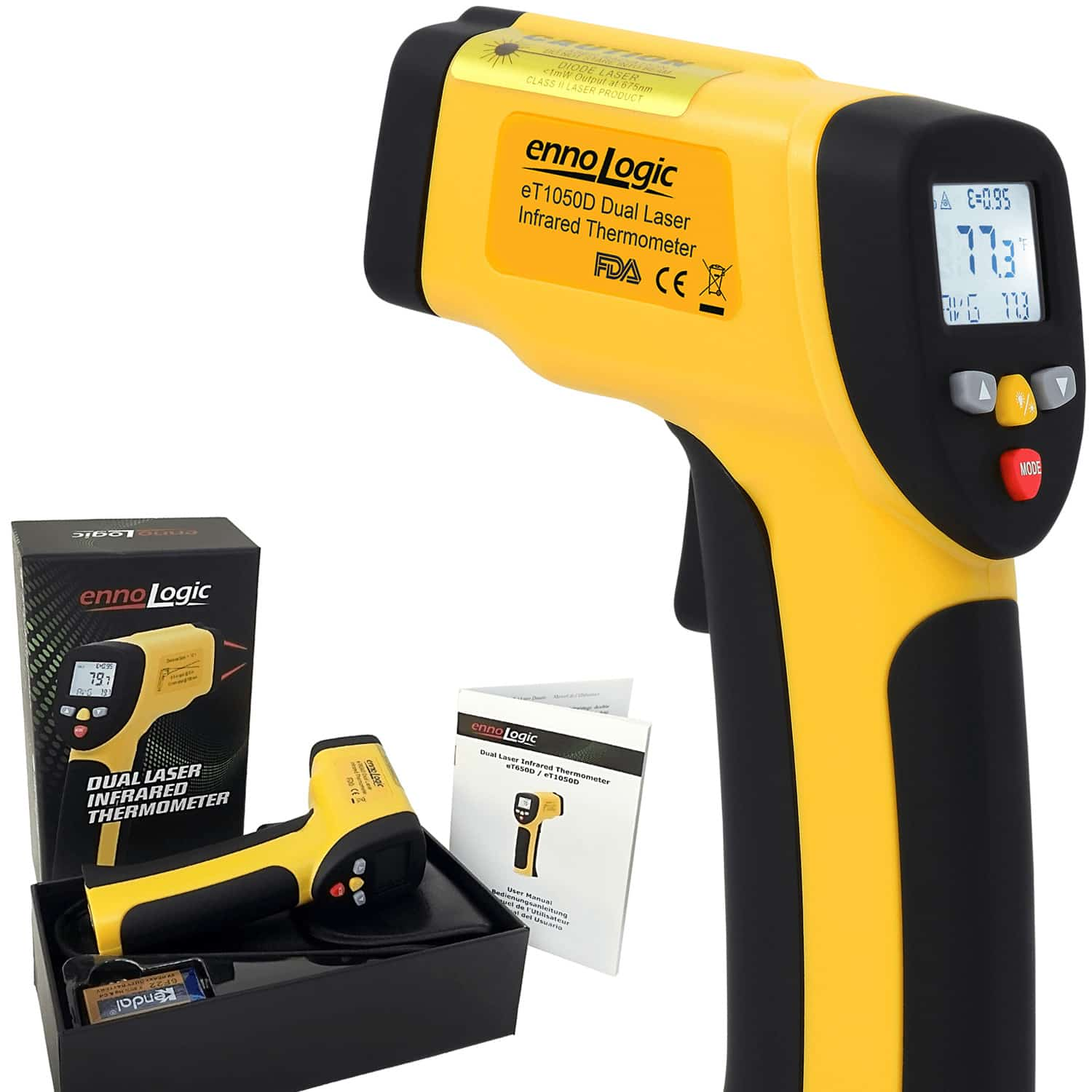 et1050d infrared thermometer ennologic temperature gun with gift set