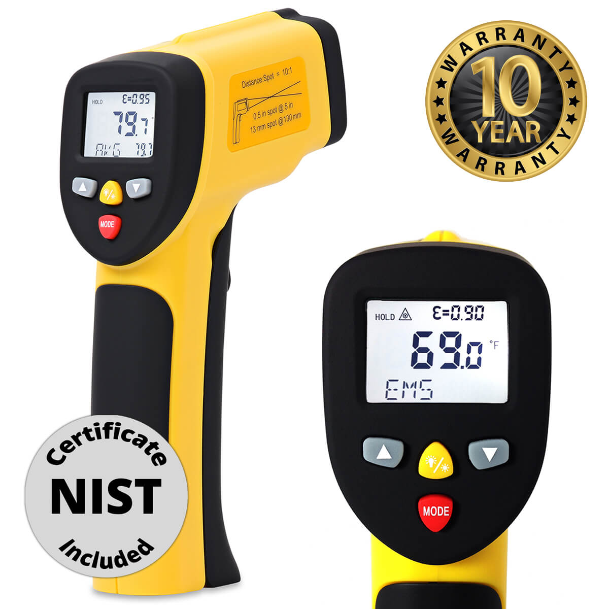 eT1050D laser temperature gun with NIST certificate and 10 year warranty